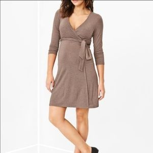 GAP Maternity Faux Wrap Dress Heathered Brown XL